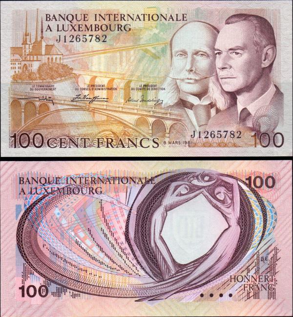 100 frankov Luxemburgsko 1981