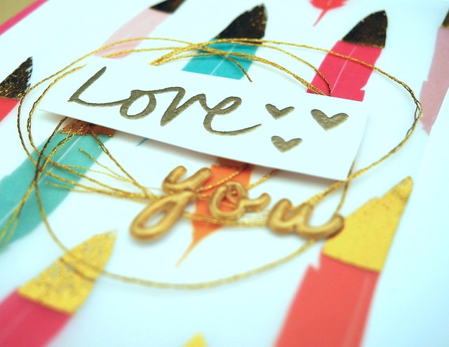 Feathers of Love by Jennifer Ingle #JustJingle #PinkfreshStudio #cards #feathers #goldfoil