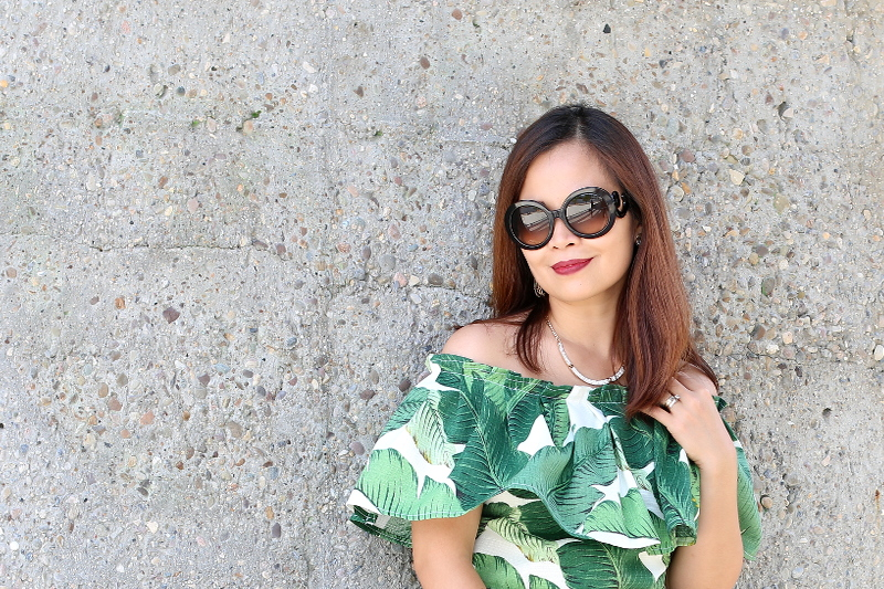 Palm-leaf-print-off-shoulder-top