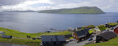 The island Hestur seen from Velbastaður, Faroe Islands