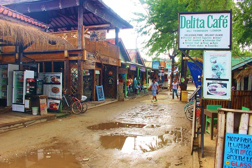 The Gili T strip...a little wet as it rained part of every day we were there.