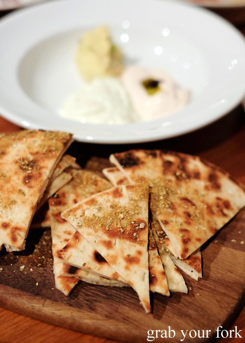 Warm flat bread at David Tsirekas' Perama pop up at Plunge 46, Summer Hill