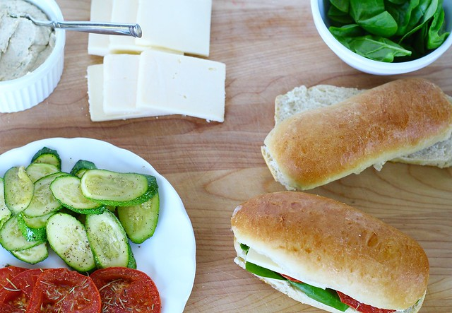 Roasted Zucchini and tomato sandwich