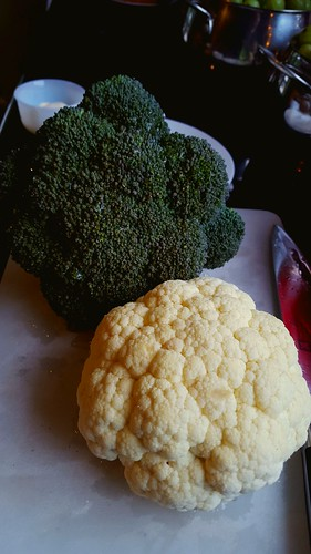 First of the broccoli and cauliflower from the garden