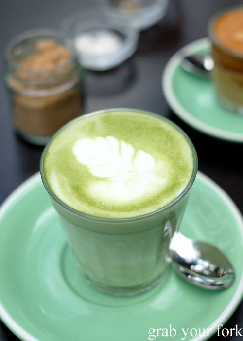 Matcha latte at Cafe Oratnek, Redfern