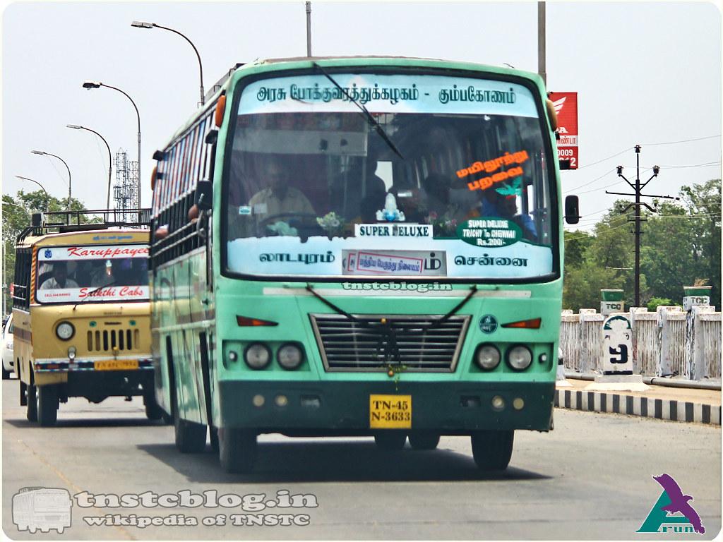 TN-45N-3633 of Perambalur Depot Route Ladapuram - Chennai via Perambalur, Ulundurpet, Villupuram, Melmaruvathur.