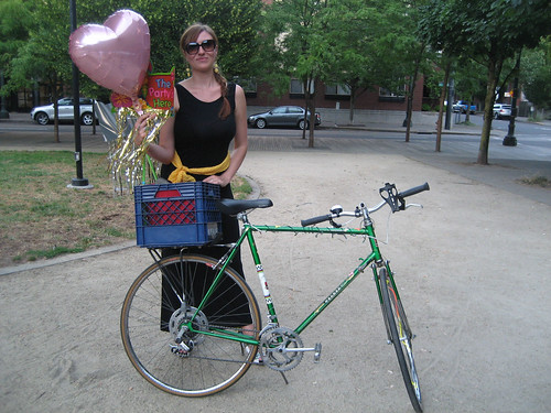 Cate and her stolen bicycle