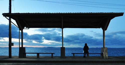 shimonada futami ehime iyo japan station sta sea sunset 鉄道 愛媛 下灘