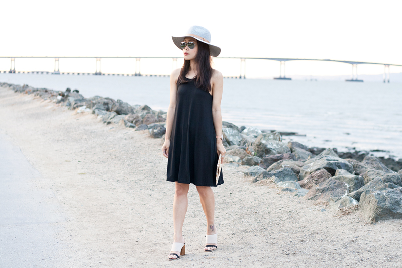 01-black-dress-fedora-hat-seychelles-mules-sf-sanfrancisco-style