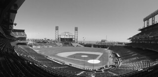 AT&T Park Tour - Pano ballpark bw by roland luistro, on Flickr