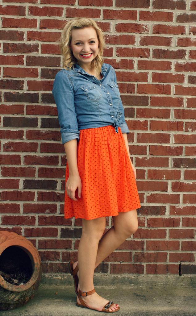 orange dress + chambray