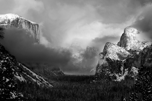 Stormy Tunnel View in Black & White