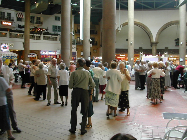 Old folks dancing, Meadowhall Centre, Sheffield, UK