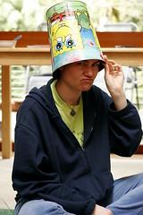 rachel modeling her chum bucket mind control helmet