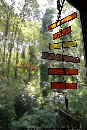 stained glass and trees in our backyard