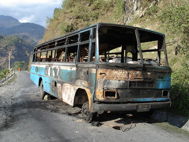 Burned out bus