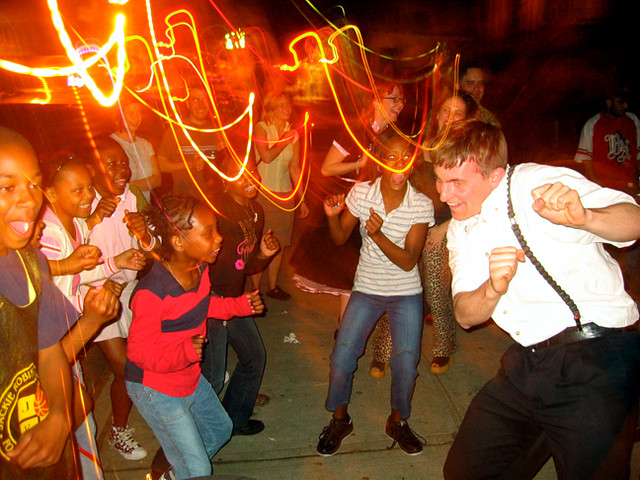 brian led the neighborhood kids in a serious dance off