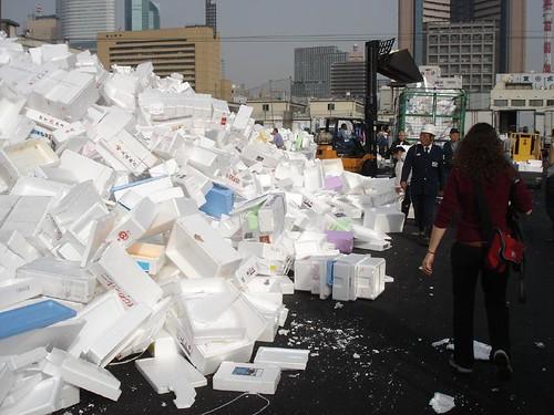 Polystyrene garbage