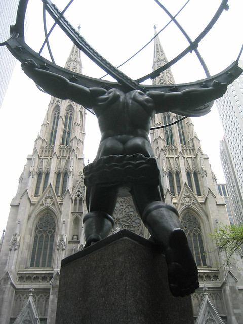 NYC: St. Patrick's Cathedral behind Atlas