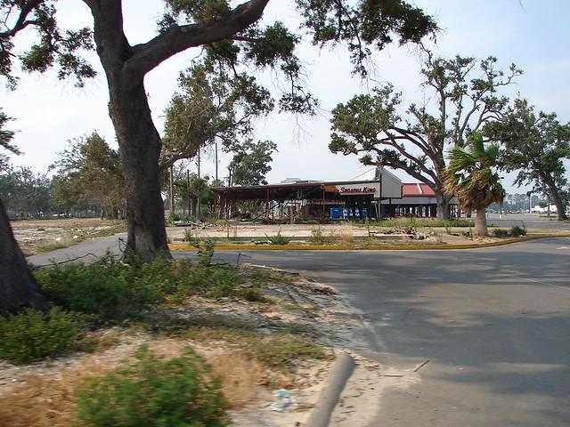 Biloxi ms edgewater village shopping center damaged by hurricane