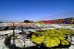 swimming in leftover graffiti