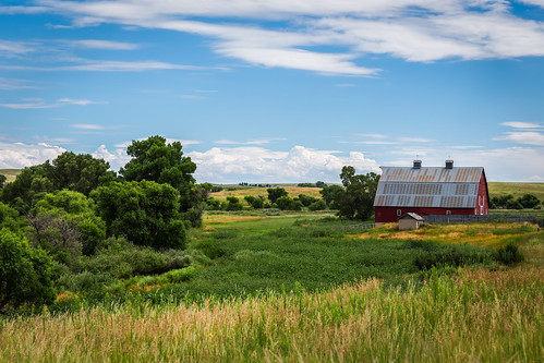 travel blue trees red summer sky green art beautiful grass barn us colorado unitedstates farm country peaceful fields elbert