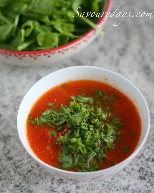 Sốt cà chua chấm rau sống