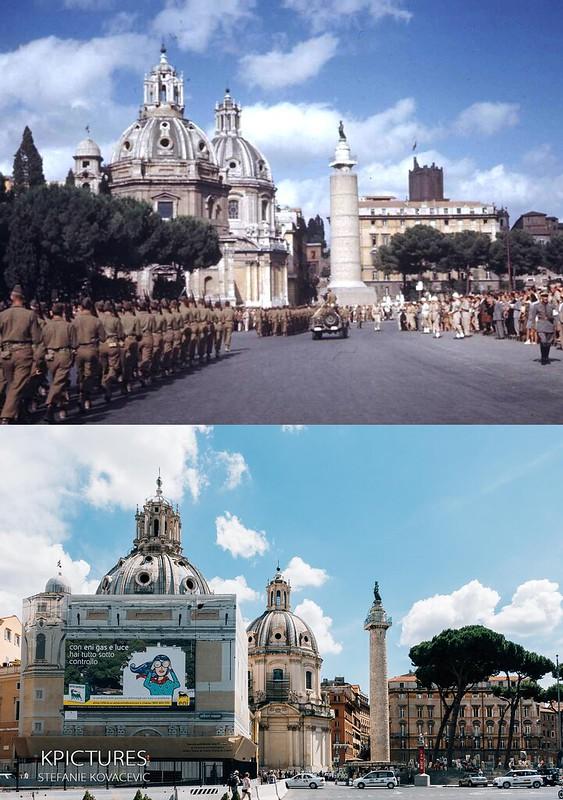 ROMA ARCHEOLOGICA & RESTAURO ARCHITETTURA: Roma - the Piazza Venezia and the Column of Trajan (Top: 4 July 1944 - LIFE MAGAZINE | Bottom: 17 June 2014 - Stefanie Kovacevic) (14|07|2015).