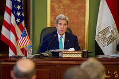 U.S. Secretary of State John Kerry addresses reporters during a news conference, with Egyptian Foreign Minister Sameh Shoukry following a series of security and economic meetings during a Strategic Dialogue between the United States and Egypt in Cairo, Egypt, on August 2, 2015. [State Department photo/ Public Domain]