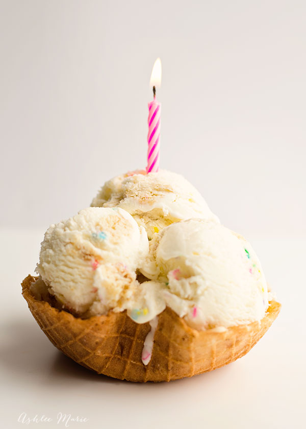 birthday cake ice cream is made with dry cake mix, sprinkles and chunks of white cake