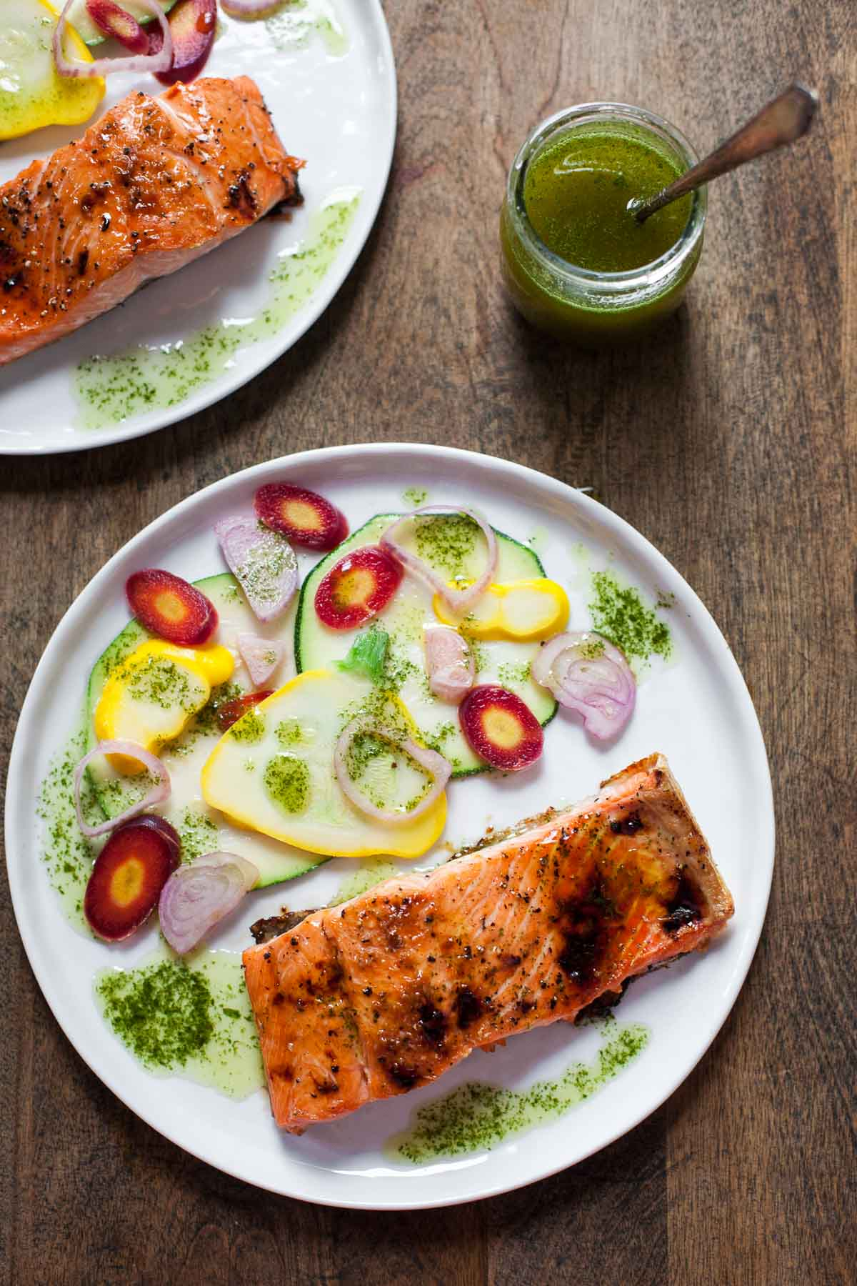 Caramelized Salmon with Basil Chile Oil and Pickled Vegetables #30MinuteMondays | acalculatedwhisk.com