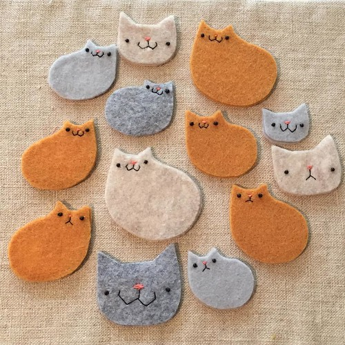 Lots of things getting finished up today before I head west tomorrow! Gang of cats waiting to be trimmed here... #migrationgoods #handmade #cats #kitteh #renegadecraftfair