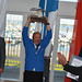 No doubt about it. A proud Mauri Halinen triumphs with the landing trophy