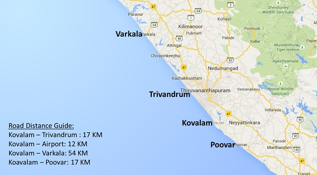 Distance guide for places around Kovalam
