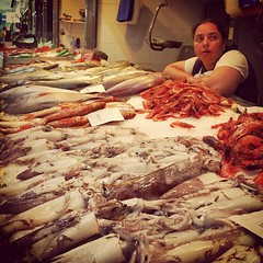 market, fish, seafood, meat, food, butcher,