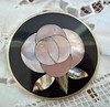 Vintage Mexican Inlaid Mother-of-Pearl Rose Alpaca Brooch or Pendant