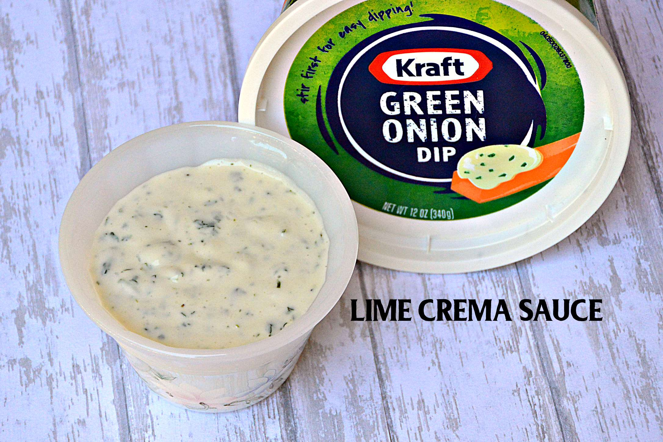 Lime Crema Sauce made with Kraft Green Onion Dip