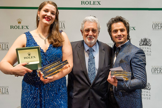 Lise Davidsen, Plácido Domingo and Ioan Hotea at Operalia 2015 © Alastair Muir, 2015
