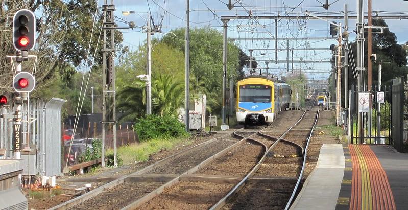 Trains near Footscray station