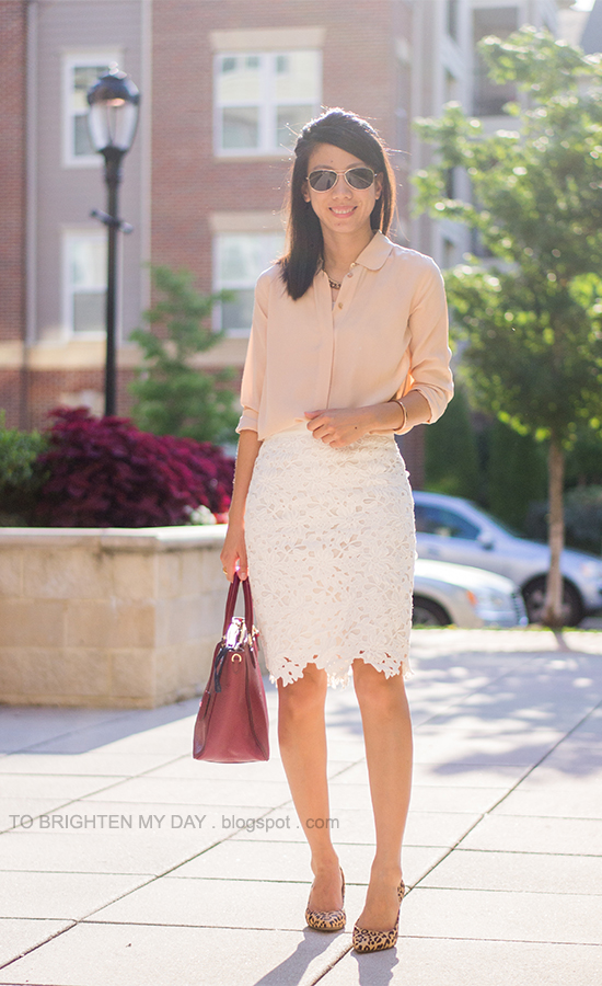 peach silk button up shirt, white lace pencil skirt, purple red tote, leopard pumps