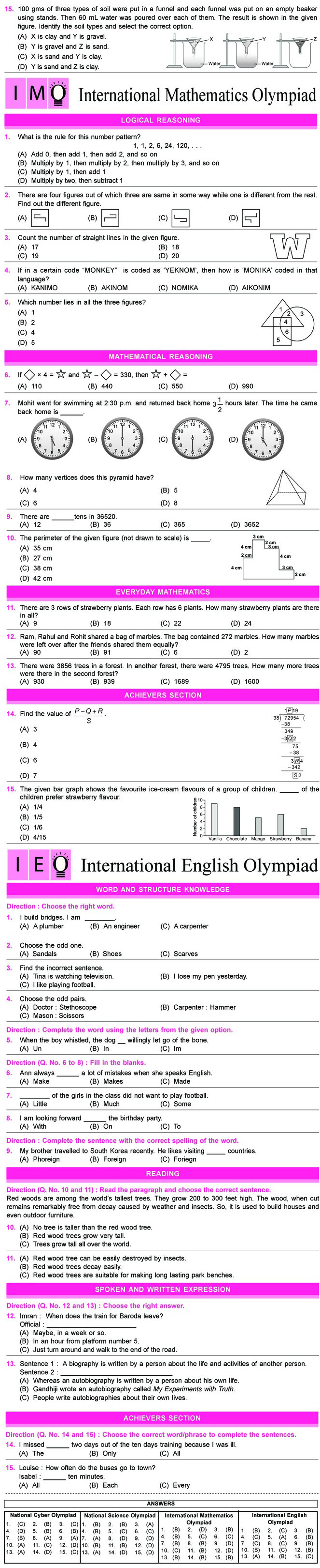 NCO, NSO, IMO & IEO Class 4 Sample Papers