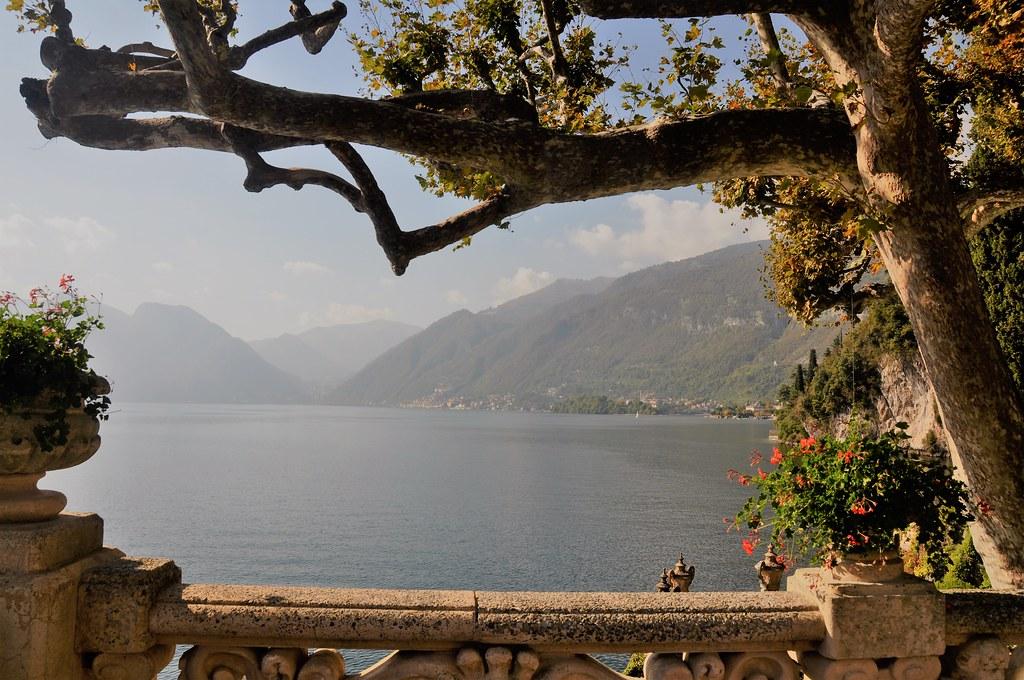 Lake Como trees and view