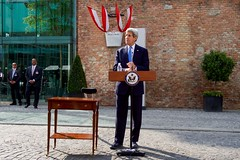 U.S. Secretary of State John Kerry, during a break in the Iranian nuclear negotiations in Vienna, Austria, on July 1, 2015, prepares to deliver a statement to the international media after President Obama and Vice President Joe Biden announced plans to re-open a U.S. Embassy in Cuba, and to have Secretary Kerry visit Havana later this summer. [State Department photo/ Public Domain]