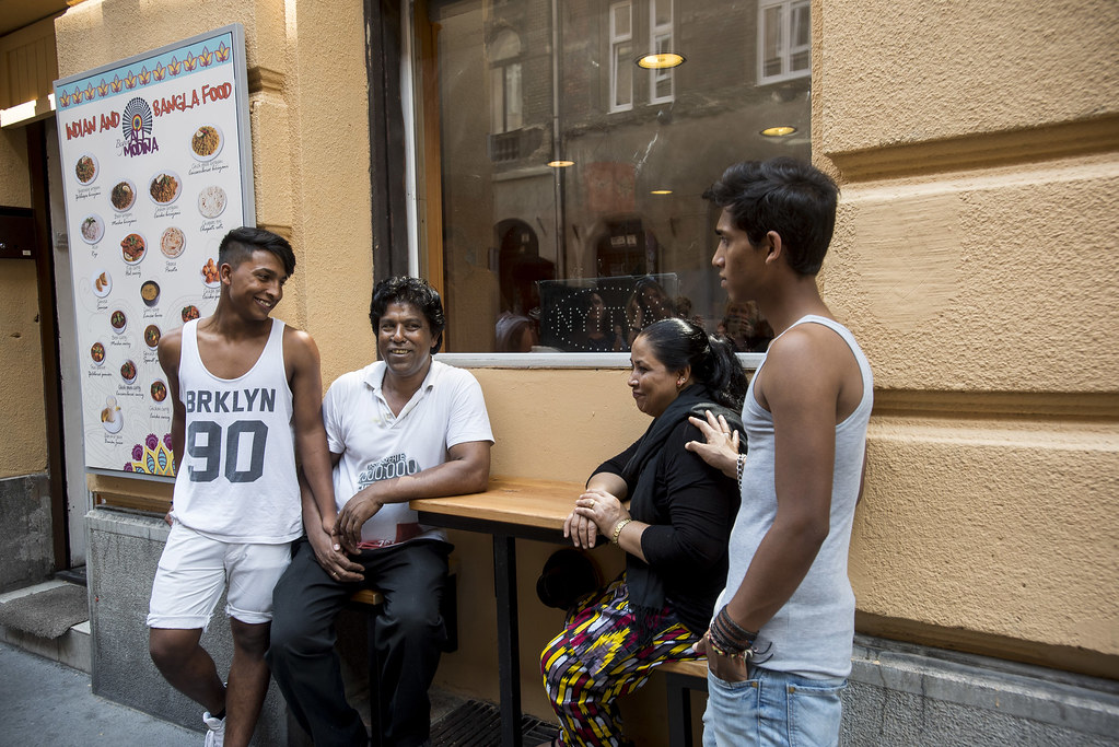 Begum Ali, her husband and their two sons Kalam and Ferdous are talking to the representatives of press in front of their Begum All Modina restaurant. (12th June, 2015).