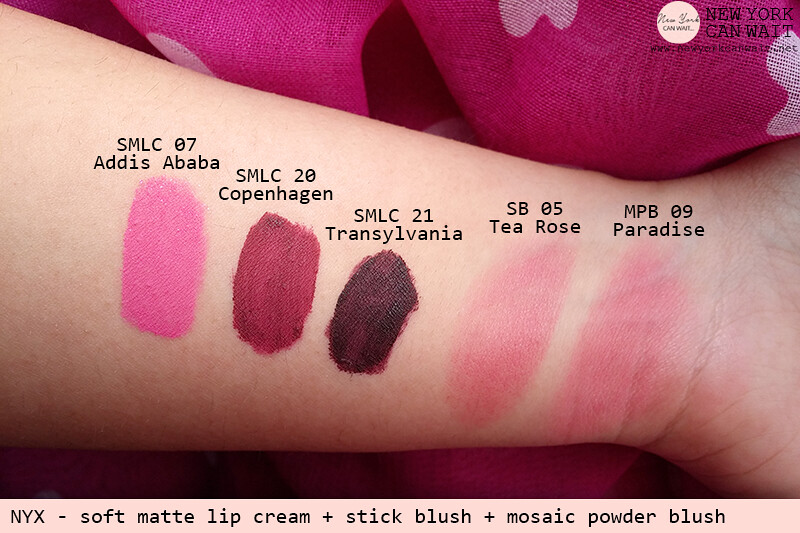 NYX: Soft Matte Lip Cream (Transylvania, Copenhagen, Addis Ababa) - Stick Blush (Tea Rose) - Mosaic Powder Blush (Paradise)