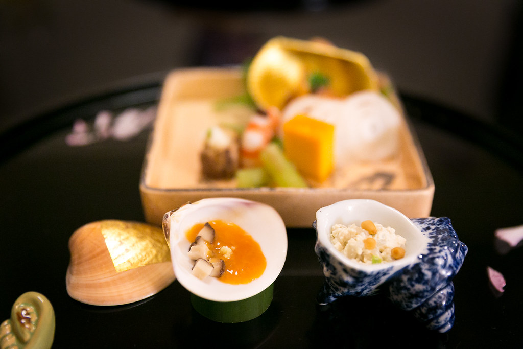 Kaiseki at Kitcho - Sea bream pickled in spicy sauce, shrimp with miso paste, egg and fish cake, beef, fuki stuffed in plum sauce, fukimoto mixed with tofu, shiitake mushroom and sea cucumber inside