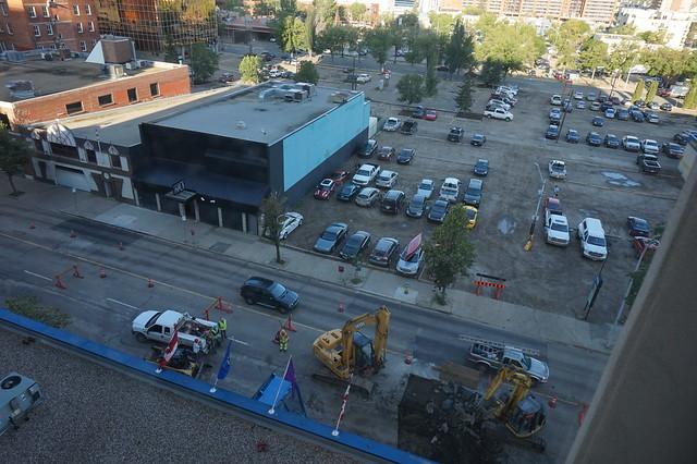 Construction at 7am in Edmonton Alberta outside the Coast Terrace Inn