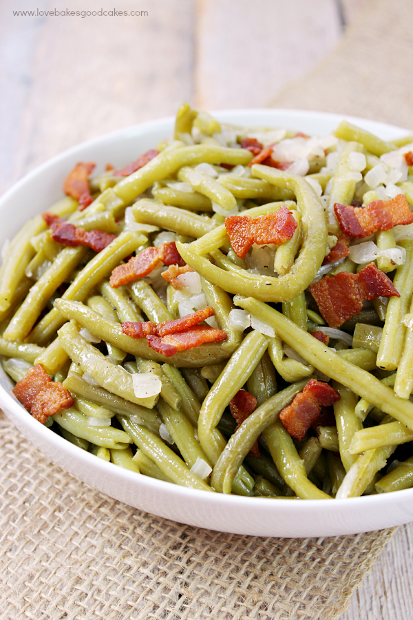 Southern-Style Green Beans in a white bowl.