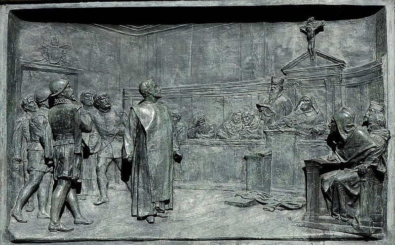 Bronze relief by Ettore Ferrari showing the trial of Giordano Bruno by the Roman Inquisition