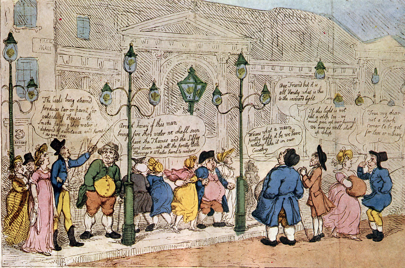 A Peep at the Gas-lights in Pall Mall by Thomas Rowlandson, 1809